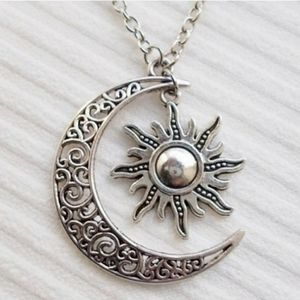 Crescent Moon and Sun Star Necklace
